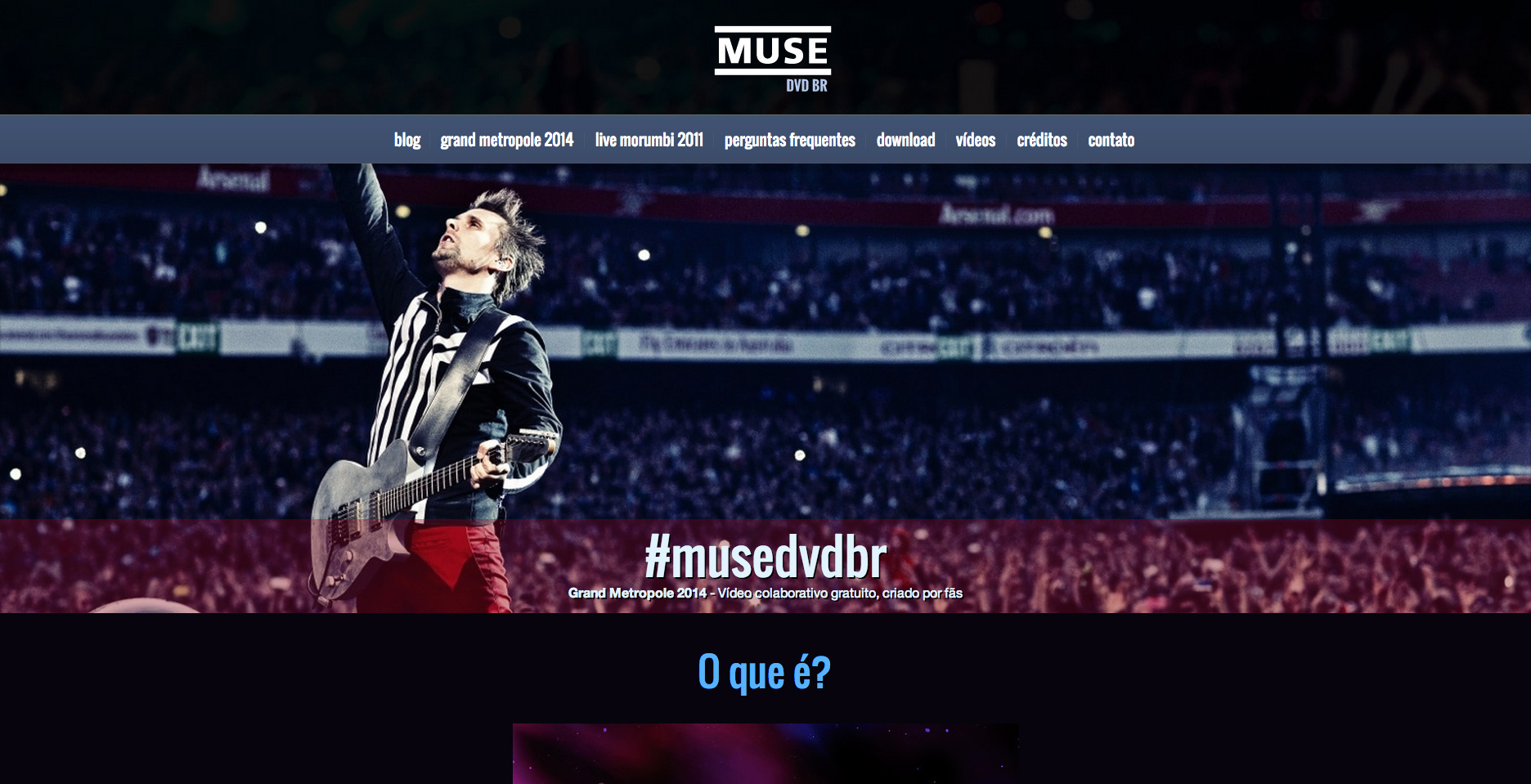 Layout do site Muse DVD BR
